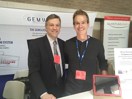 Stan Hogrebe with Richard Drucker in Gemworld International's both at the AGTA Fair