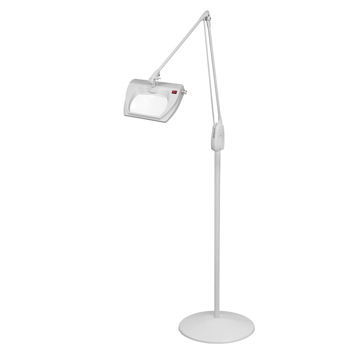 Dazor led stretchview pedestal floor stand magnifier lamp 42 in dove grey 3 diopter mozeypictures Choice Image